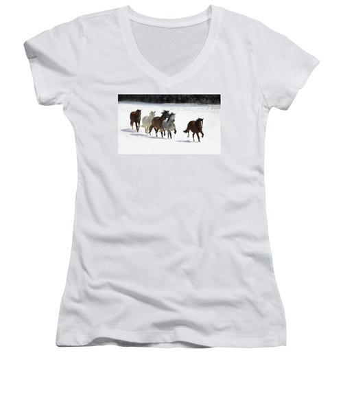 Snow Gallop Women's V-Neck (Athletic Fit)