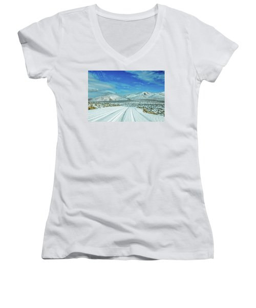 Women's V-Neck T-Shirt (Junior Cut) featuring the photograph Snow In Death Valley by Peter Tellone