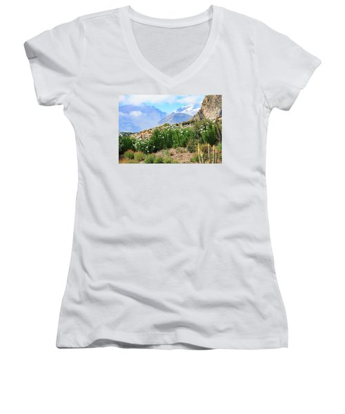 Women's V-Neck T-Shirt featuring the photograph Snow In The Desert by David Chandler