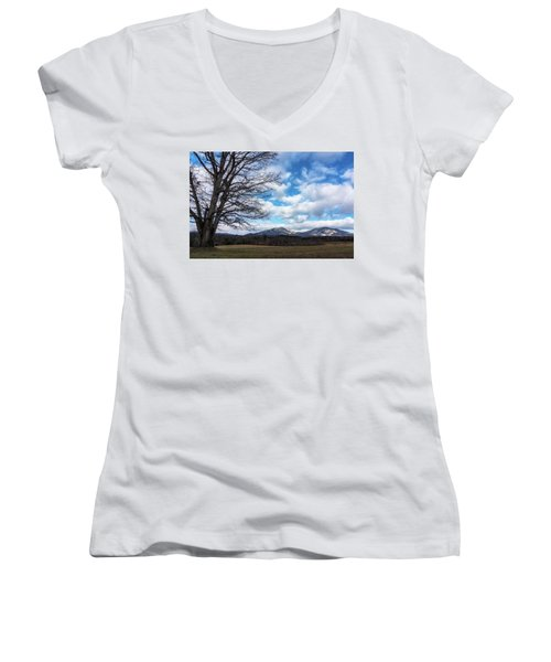 Snow In The High Mountains Women's V-Neck T-Shirt (Junior Cut) by Steve Hurt