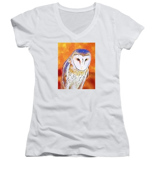 Women's V-Neck T-Shirt (Junior Cut) featuring the digital art White Face Barn Owl by Tracie Kaska