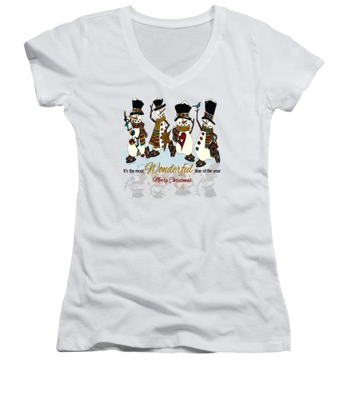 Snow Play Women's V-Neck T-Shirt (Junior Cut) by Tami Dalton
