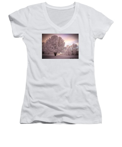 Snow Tree At Dusk Women's V-Neck (Athletic Fit)
