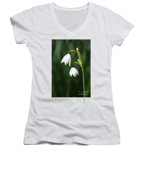 Snowdrops Painted Finger Nails Women's V-Neck