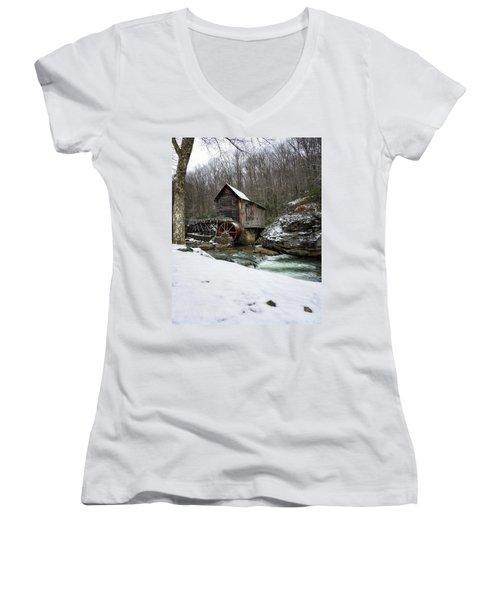 Snowing At Glade Creek Mill Women's V-Neck T-Shirt (Junior Cut) by Steve Hurt