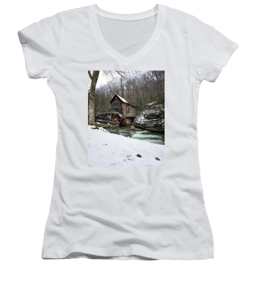 Snowing At Glade Creek Mill Women's V-Neck T-Shirt