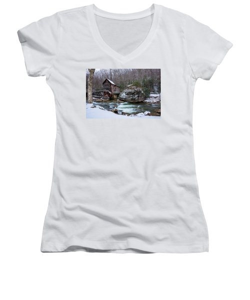 Snowing At The Mill  Women's V-Neck T-Shirt