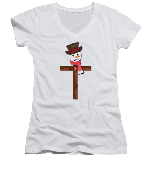 Snowman Christian Cross Women's V-Neck T-Shirt (Junior Cut) by Reggie Hart