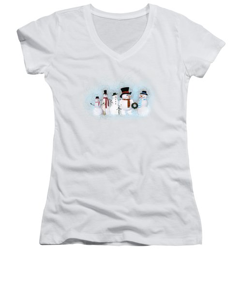 Women's V-Neck T-Shirt (Junior Cut) featuring the painting Snowmen by Methune Hively