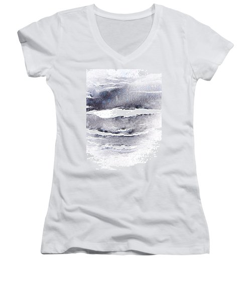 Women's V-Neck T-Shirt (Junior Cut) featuring the photograph Snowstorm In The High Country by Lenore Senior