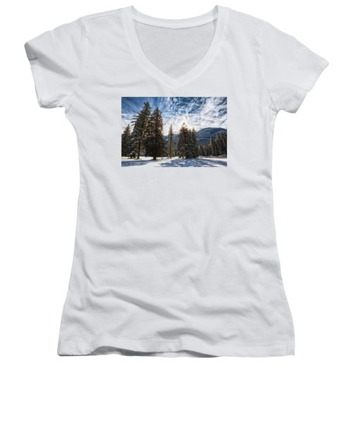 Snowy Clouds Women's V-Neck T-Shirt (Junior Cut) by Charlie Duncan