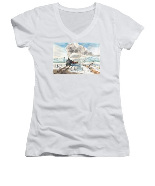 Snowy Crossing Women's V-Neck (Athletic Fit)