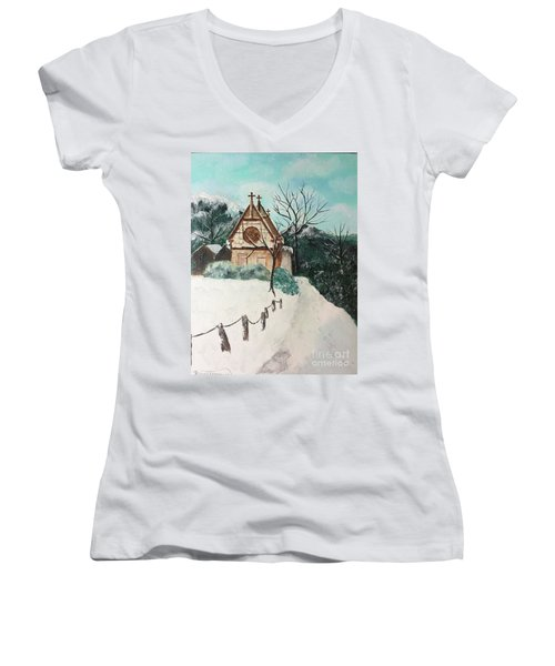 Women's V-Neck T-Shirt featuring the painting Snowy Daze by Denise Tomasura