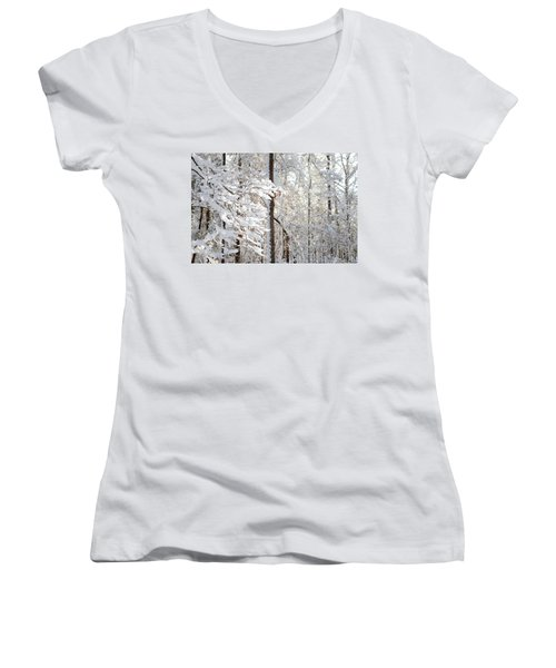Snowy Dogwood Bloom Women's V-Neck (Athletic Fit)