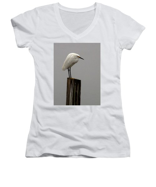 Snowy Egret In The Fog  Women's V-Neck (Athletic Fit)