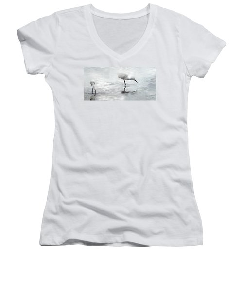 Snowy Egrets Women's V-Neck (Athletic Fit)