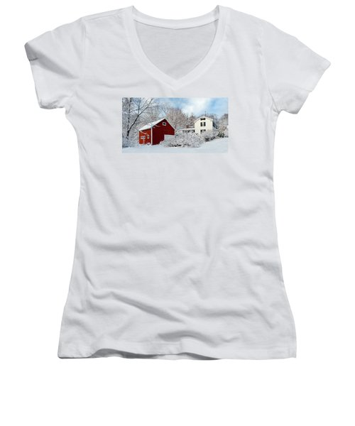 Snowy Homestead With Red Barn Women's V-Neck