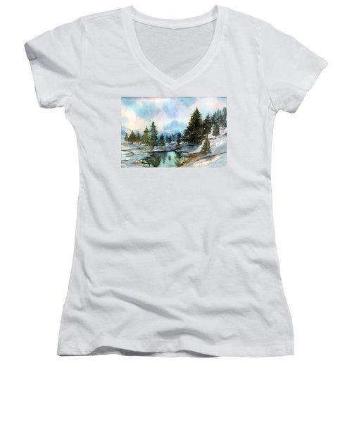 Snowy Lake Reflections Women's V-Neck