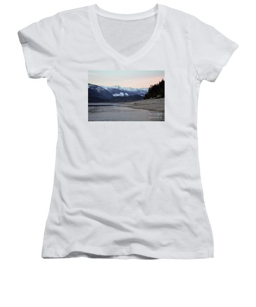 Women's V-Neck T-Shirt (Junior Cut) featuring the photograph Snowy Mountains by Victor K