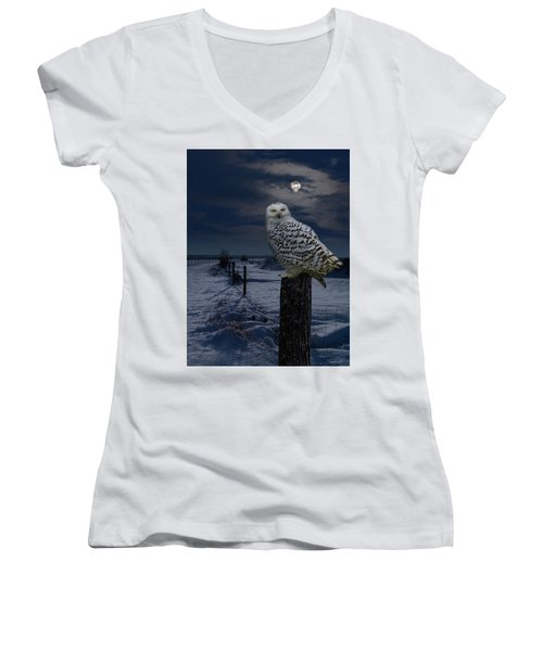 Snowy Owl On A Winter Night Women's V-Neck (Athletic Fit)
