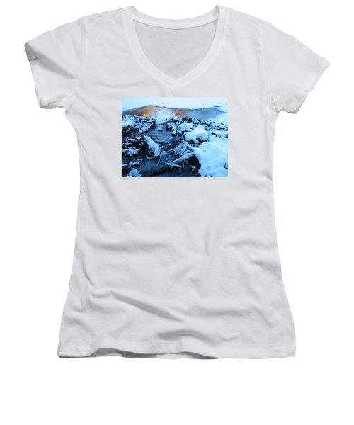 Snowy Reflections Women's V-Neck T-Shirt (Junior Cut) by Angela Murray