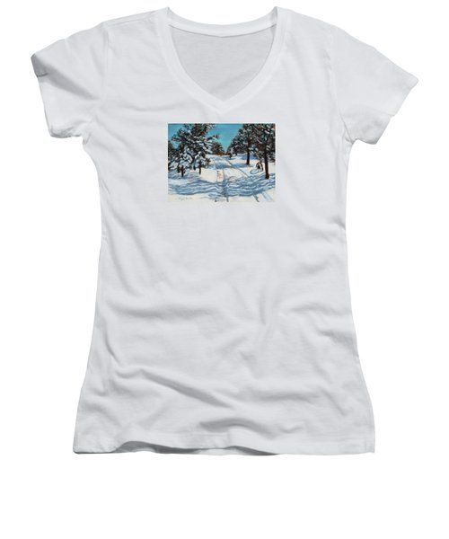 Snowy Road Home Women's V-Neck T-Shirt