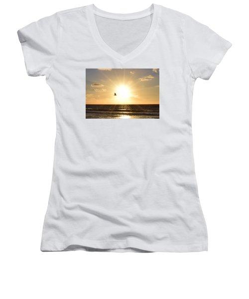 Soaring Seagull Sunset Over Imperial Beach Women's V-Neck T-Shirt (Junior Cut) by Karen J Shine