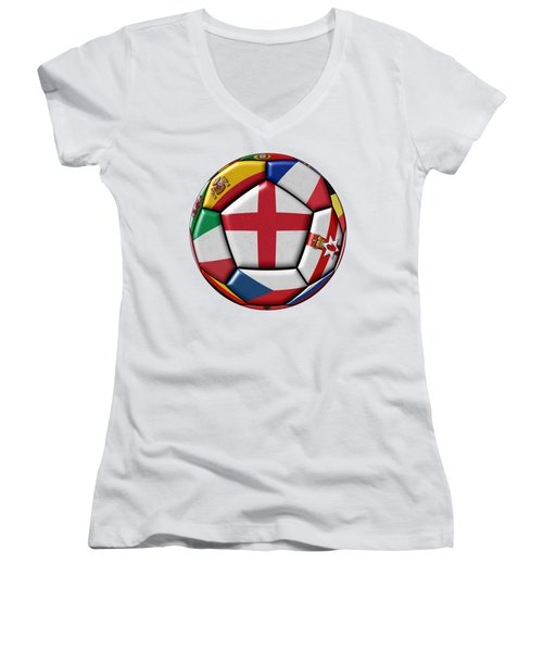 Soccer Ball With Flag Of England In The Center Women's V-Neck T-Shirt (Junior Cut) by Michal Boubin