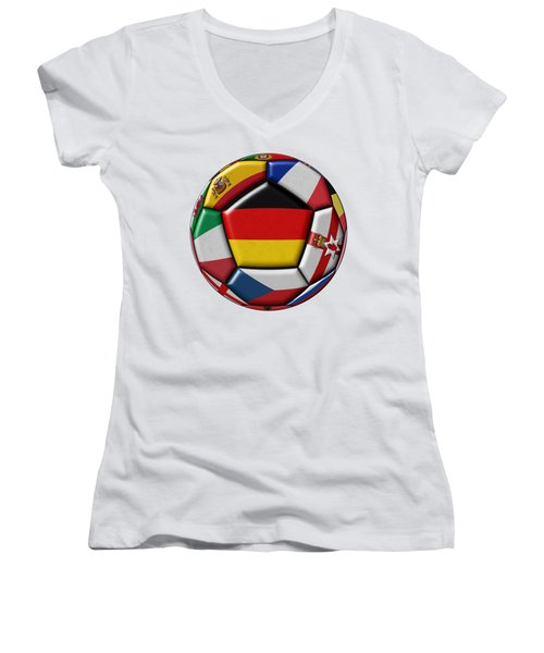 Soccer Ball With Flag Of German In The Center Women's V-Neck (Athletic Fit)