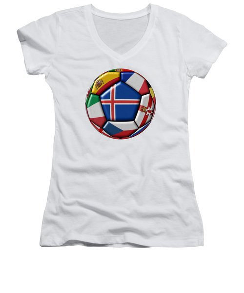 Soccer Ball With Flag Of Iceland In The Center Women's V-Neck T-Shirt (Junior Cut) by Michal Boubin