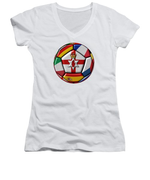 Soccer Ball With Flag Of Northern Ireland In The Center Women's V-Neck T-Shirt (Junior Cut) by Michal Boubin