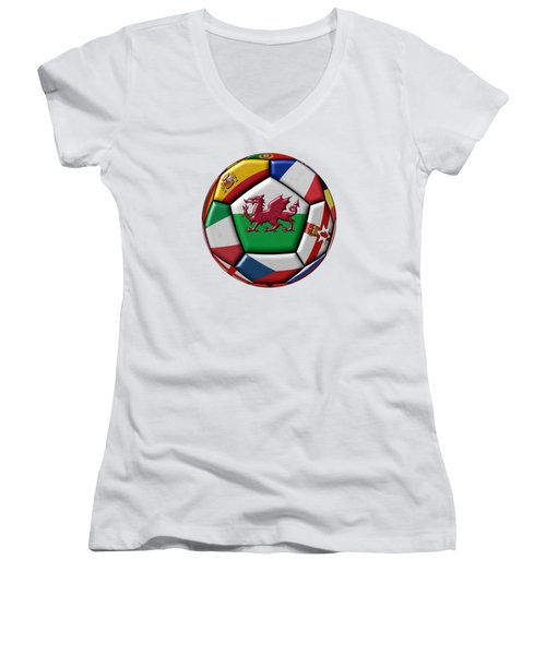 Soccer Ball With Flag Of Wales In The Center Women's V-Neck T-Shirt (Junior Cut) by Michal Boubin
