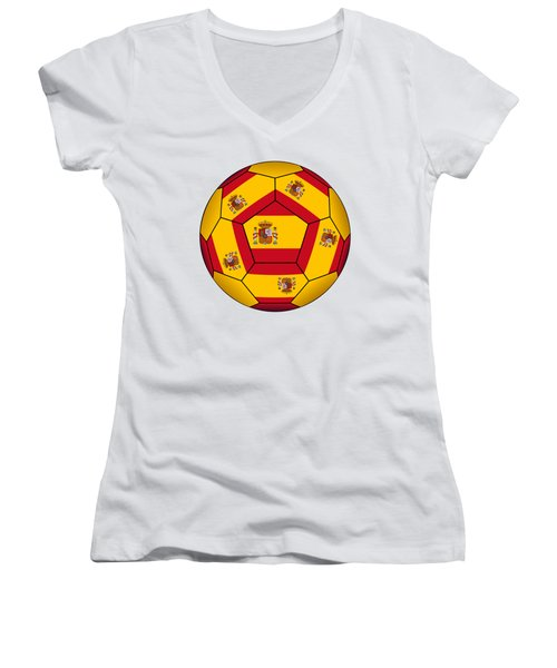 Soccer Ball With Spanish Flag Women's V-Neck (Athletic Fit)