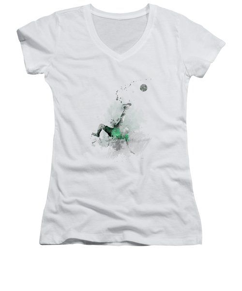 Soccer Player Women's V-Neck T-Shirt (Junior Cut) by Marlene Watson
