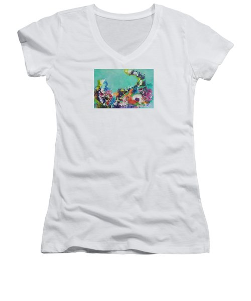 Women's V-Neck T-Shirt (Junior Cut) featuring the painting Soft And Hard Corals by Lyn Olsen