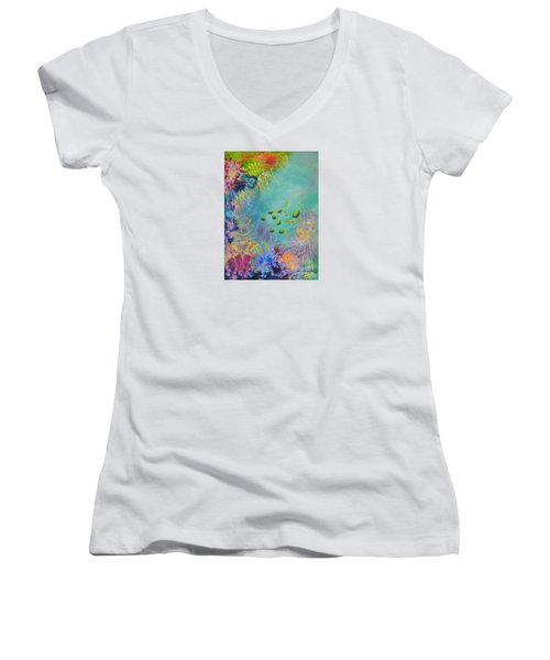 Women's V-Neck T-Shirt (Junior Cut) featuring the painting Soft And Hard Reef Corals by Lyn Olsen