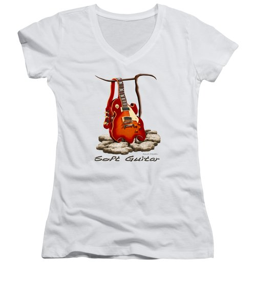 Soft Guitar - 3 Women's V-Neck T-Shirt (Junior Cut) by Mike McGlothlen