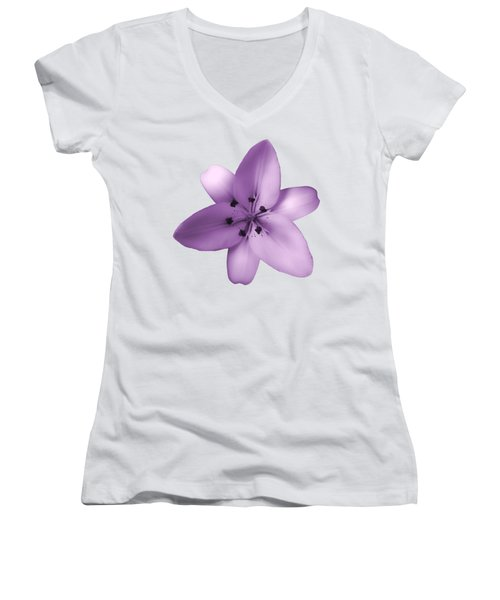 Soft Purple Creme Lily Women's V-Neck (Athletic Fit)