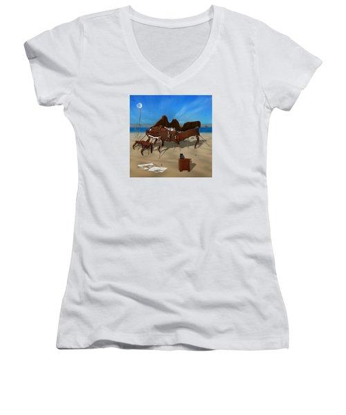 Softe Grand Piano Se Sq Women's V-Neck T-Shirt (Junior Cut) by Mike McGlothlen