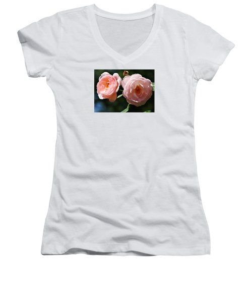 Women's V-Neck T-Shirt (Junior Cut) featuring the photograph Softly Pink by Al Fritz