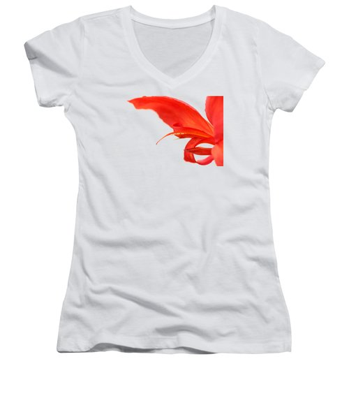 Softly Red Canna Lily Women's V-Neck (Athletic Fit)
