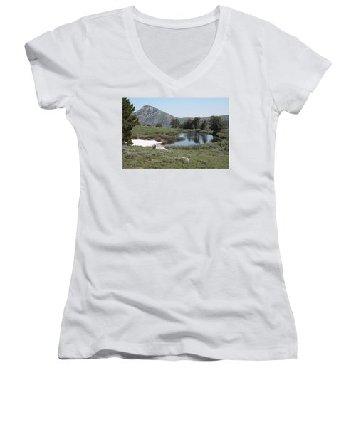 Women's V-Neck T-Shirt (Junior Cut) featuring the photograph Soldier Lake And Peak by Jenessa Rahn