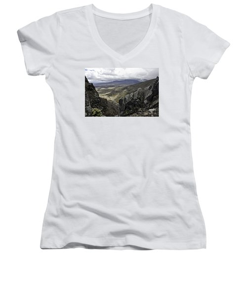 Women's V-Neck T-Shirt (Junior Cut) featuring the photograph Somewhere In New Zealand by Yurix Sardinelly
