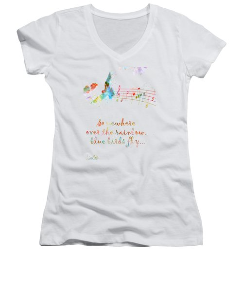Somewhere Over The Rainbow Women's V-Neck T-Shirt (Junior Cut) by Nikki Smith