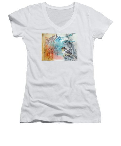 Women's V-Neck featuring the mixed media Song Of Life  by Rose Legge