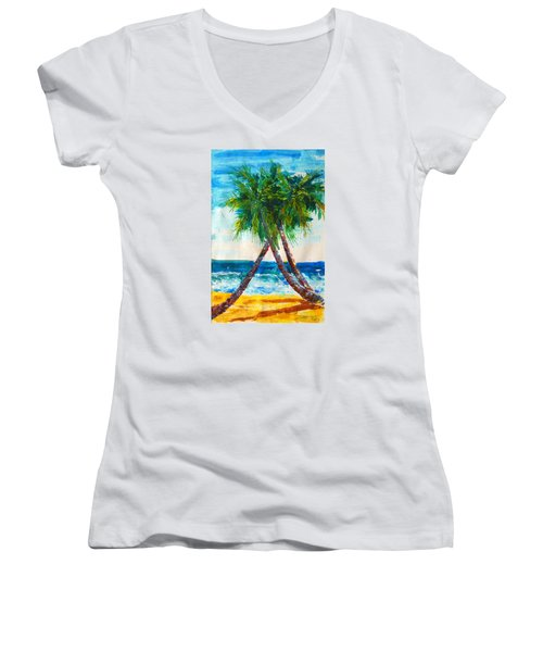 South Beach Palms Women's V-Neck (Athletic Fit)