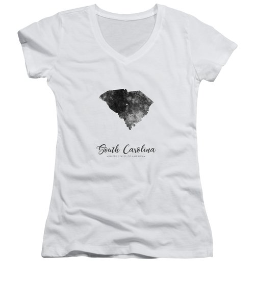 South Carolina State Map Art - Grunge Silhouette Women's V-Neck (Athletic Fit)
