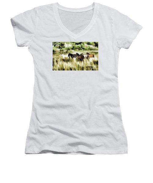 Women's V-Neck T-Shirt (Junior Cut) featuring the mixed media South Dakota Herd Of Horses by Wilma Birdwell