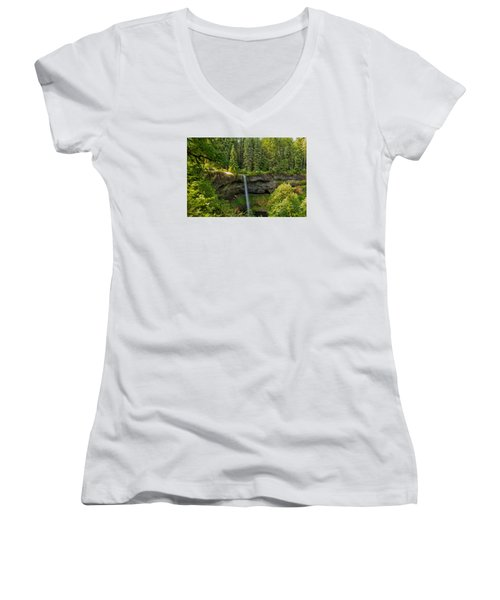 South Falls 0417 Women's V-Neck T-Shirt (Junior Cut) by Tom Kelly