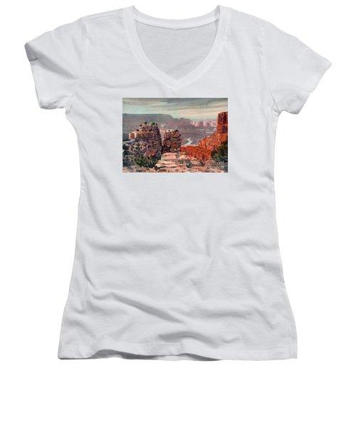 South Rim Women's V-Neck T-Shirt (Junior Cut) by Donald Maier